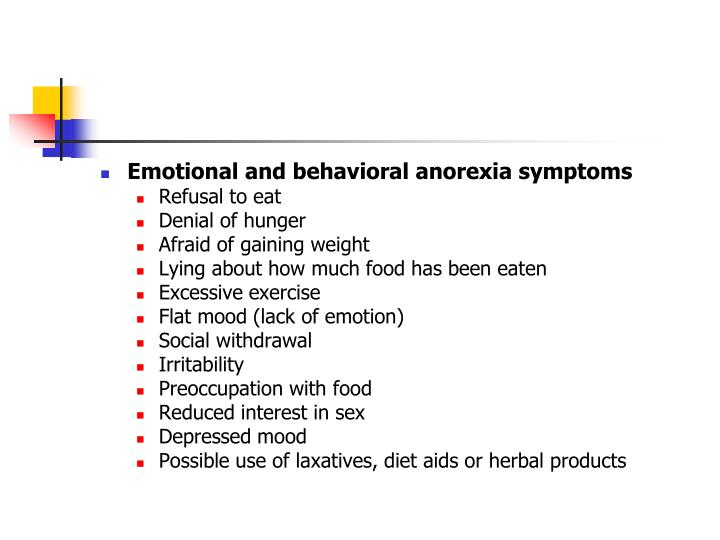 Emotional and behavioral anorexia symptoms