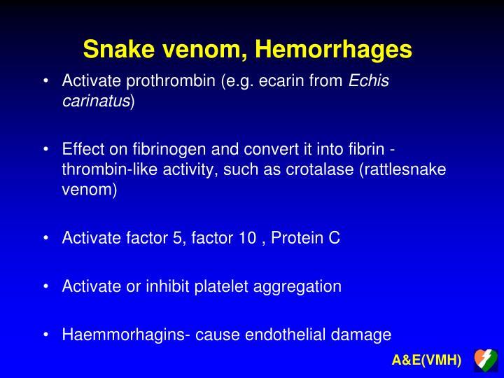 Snake venom, Hemorrhages