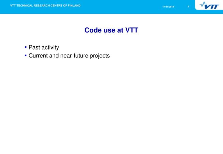 Code use at vtt
