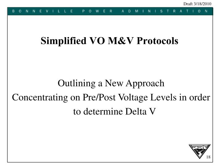Simplified VO M&V Protocols