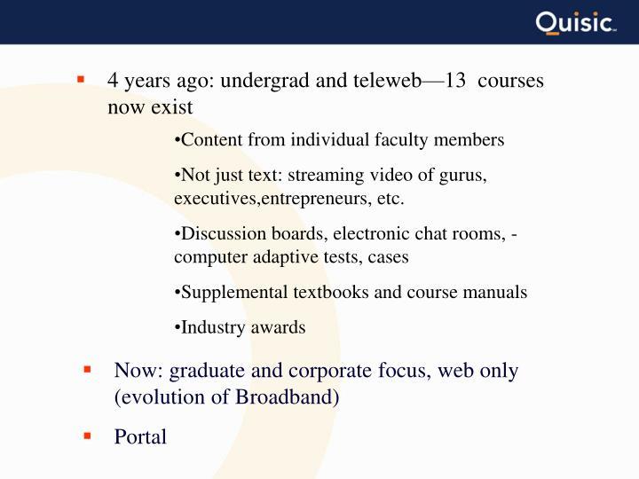 4 years ago: undergrad and teleweb—13  courses now exist