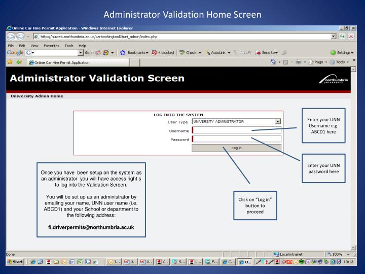 Administrator validation home screen