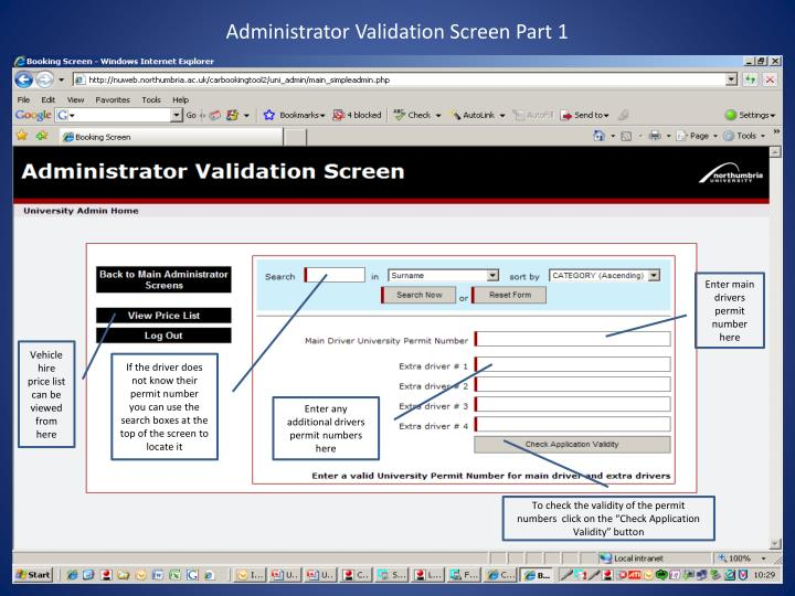Administrator Validation Screen Part 1