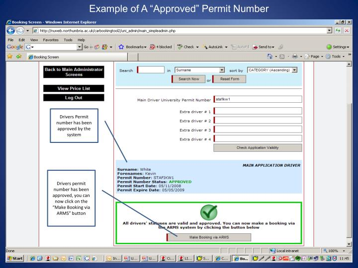 "Example of A ""Approved"" Permit Number"