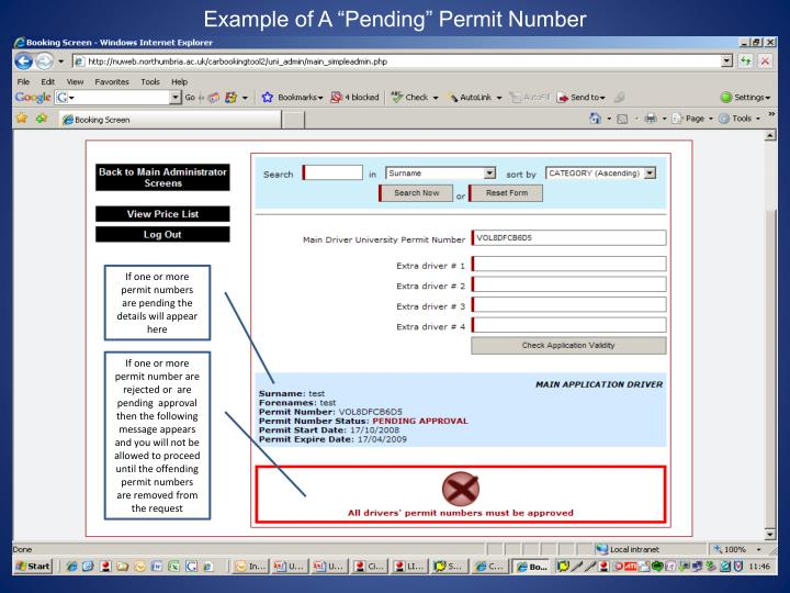 "Example of A ""Pending"" Permit Number"