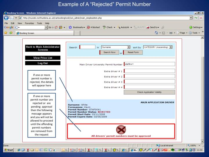 "Example of A ""Rejected"" Permit Number"