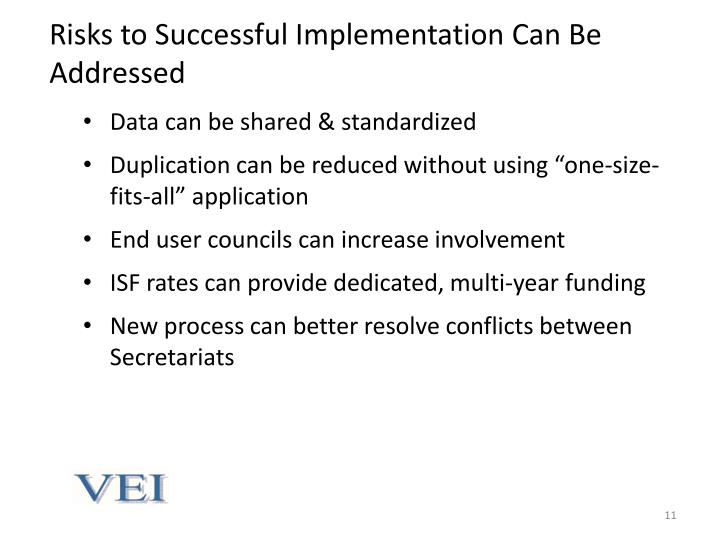 Risks to Successful Implementation Can Be Addressed