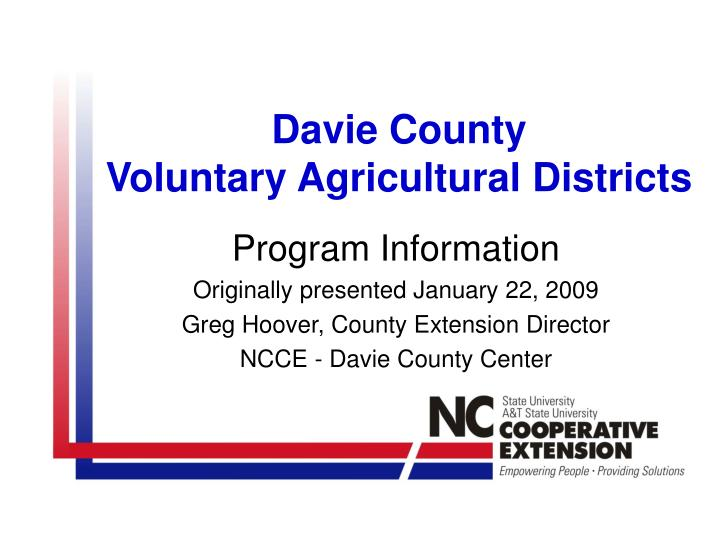 davie county voluntary agricultural districts n.