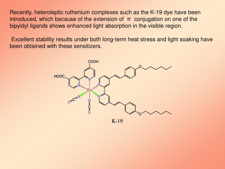 Recently, heteroleptic ruthenium complexes such as the K-19 dye have been