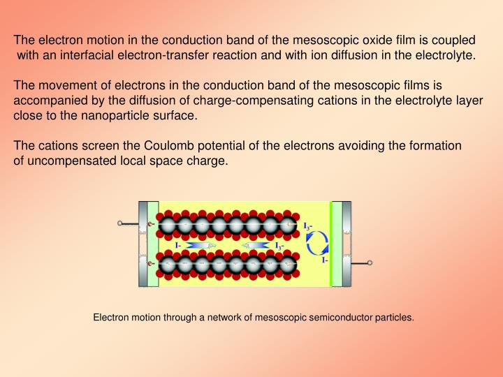 The electron motion in the conduction band of the mesoscopic oxide film is coupled