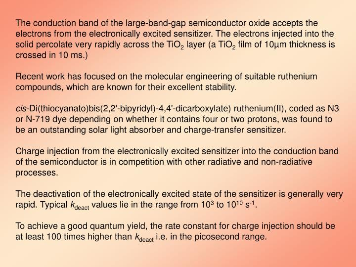 The conduction band of the large-band-gap semiconductor oxide accepts the