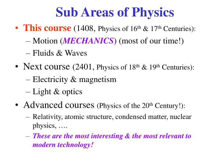 Sub Areas of Physics