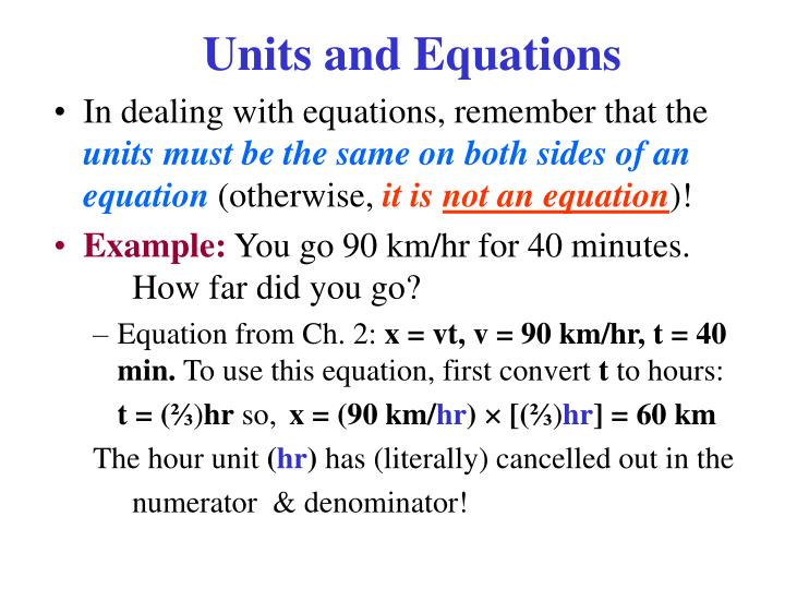 Units and Equations