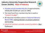 industry university cooperative research center iucrc role of industry