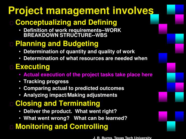 Project management involves