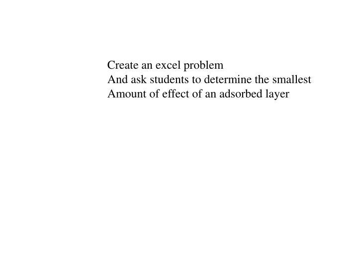 Create an excel problem