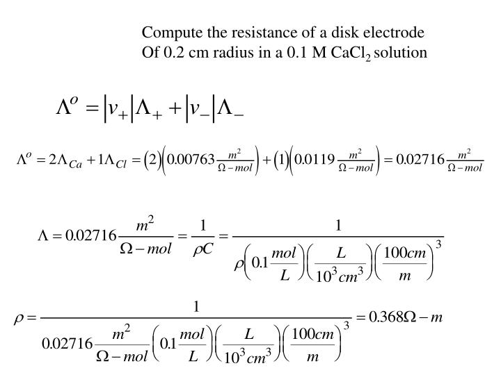 Compute the resistance of a disk electrode