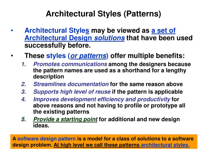 Architectural styles patterns