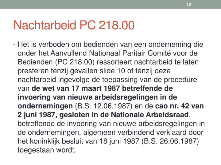 Nachtarbeid PC 218.00