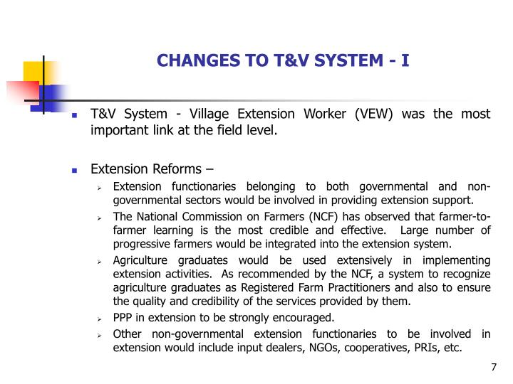 CHANGES TO T&V SYSTEM - I