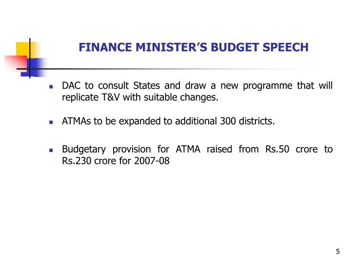 FINANCE MINISTER'S BUDGET SPEECH