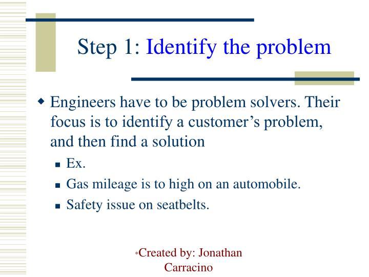 Step 1 identify the problem