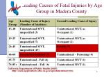leading causes of fatal injuries by age group in madera county