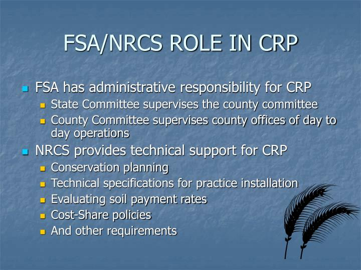 FSA/NRCS ROLE IN CRP