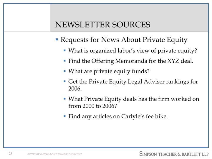 NEWSLETTER SOURCES
