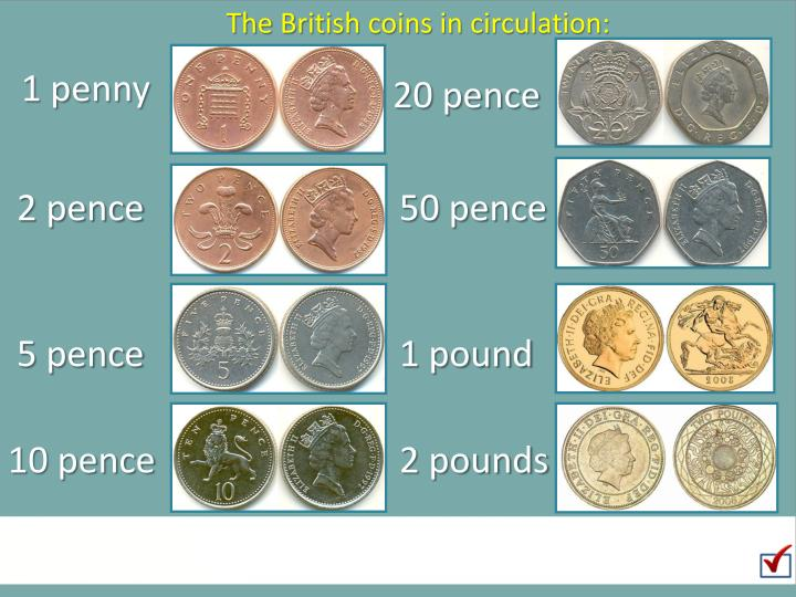 The British coins in circulation: