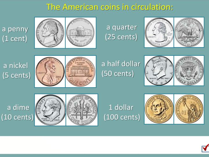The American coins in circulation: