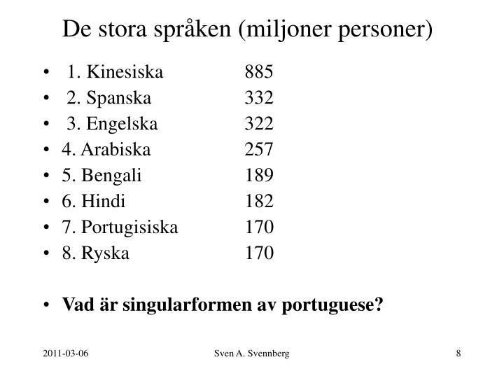 De stora språken (miljoner personer)