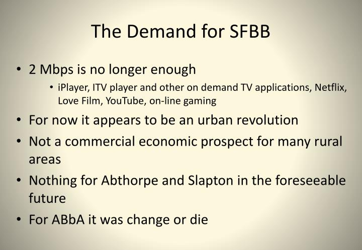 The Demand for SFBB