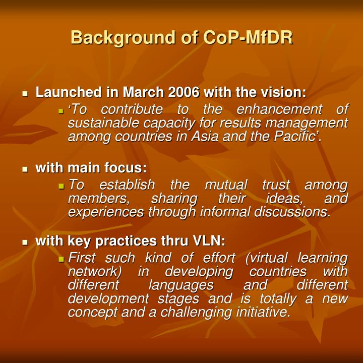 Background of CoP-MfDR
