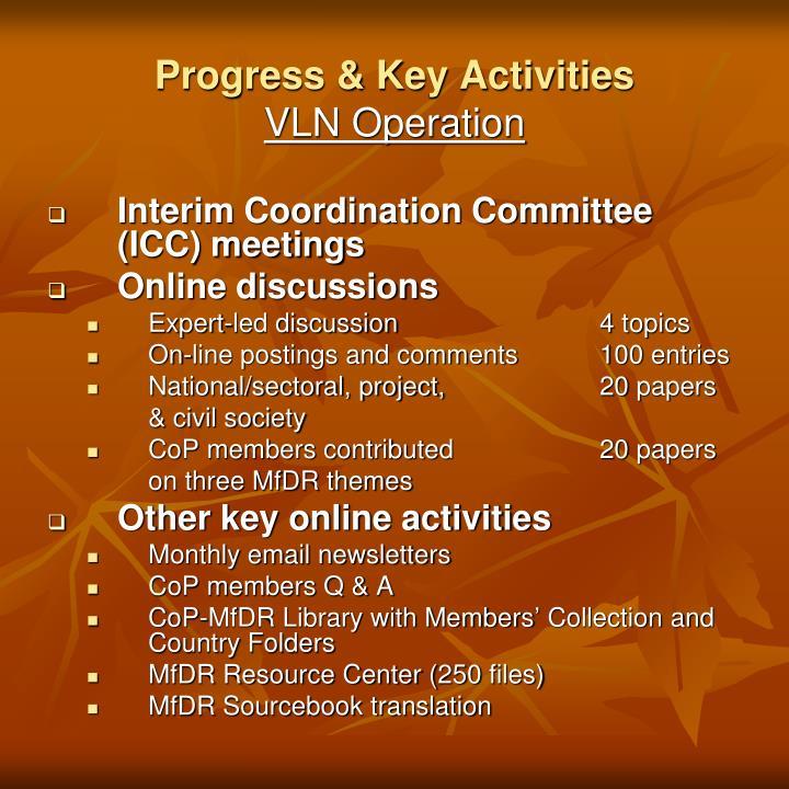 Interim Coordination Committee (ICC) meetings