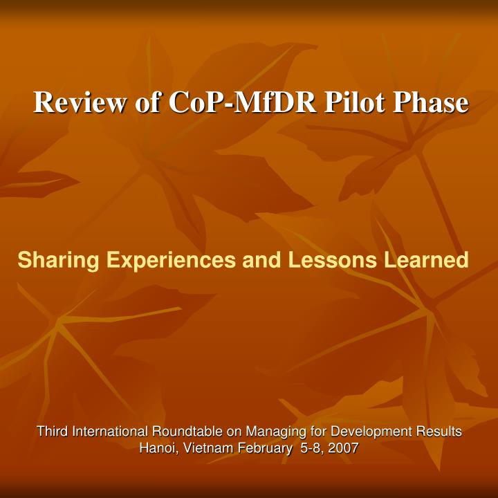 Review of cop mfdr pilot phase