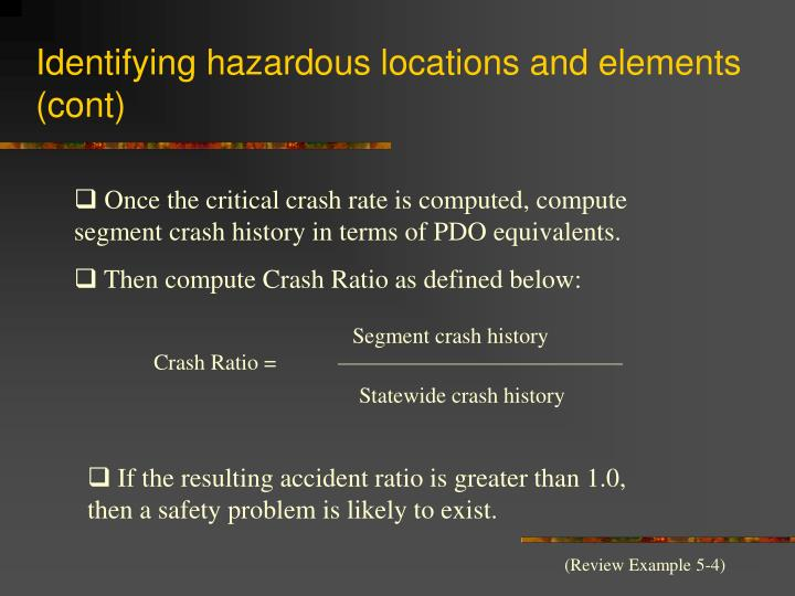 Identifying hazardous locations and elements (cont)