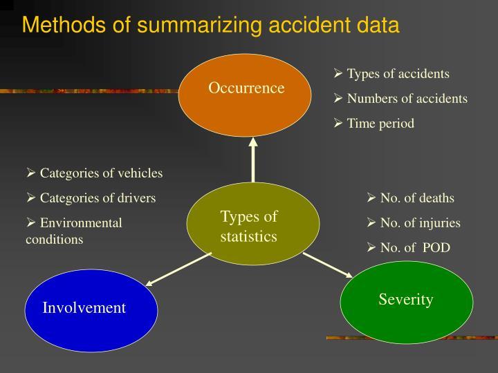 Methods of summarizing accident data