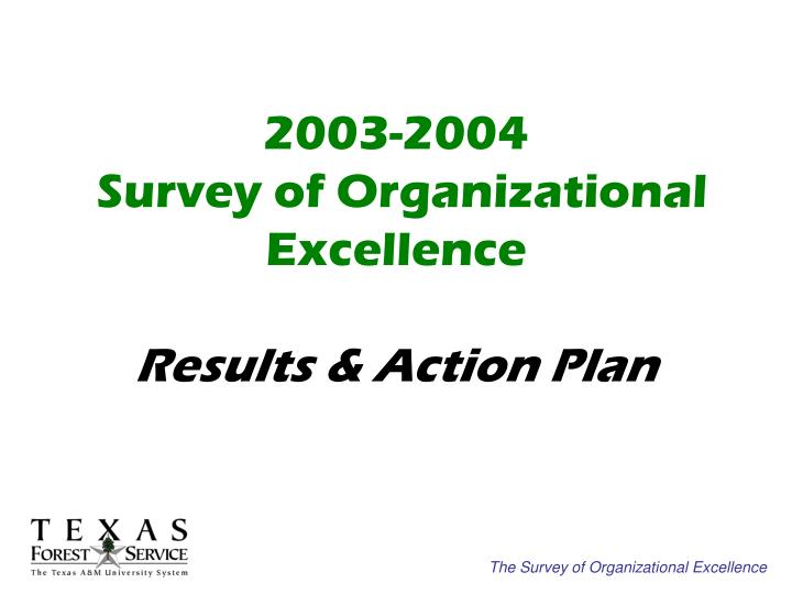 2003 2004 survey of organizational excellence results action plan