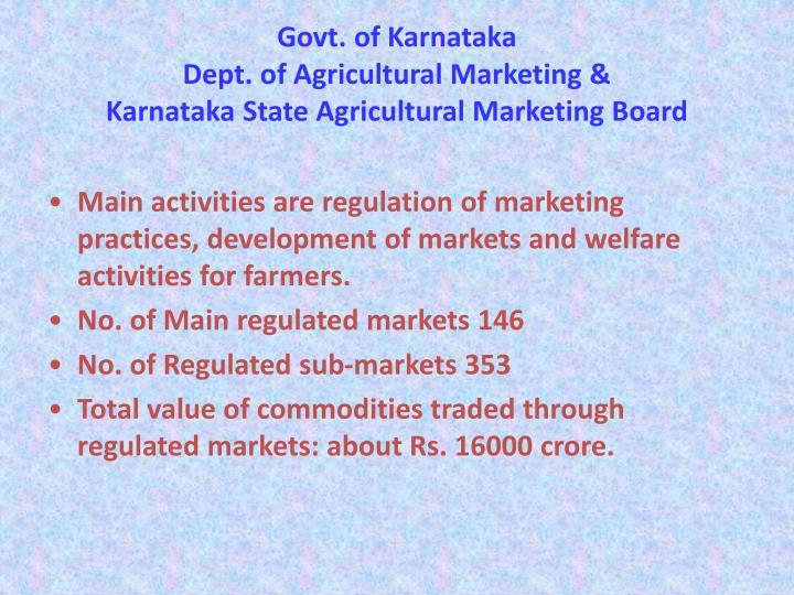 Govt of karnataka dept of agricultural marketing karnataka state agricultural marketing board