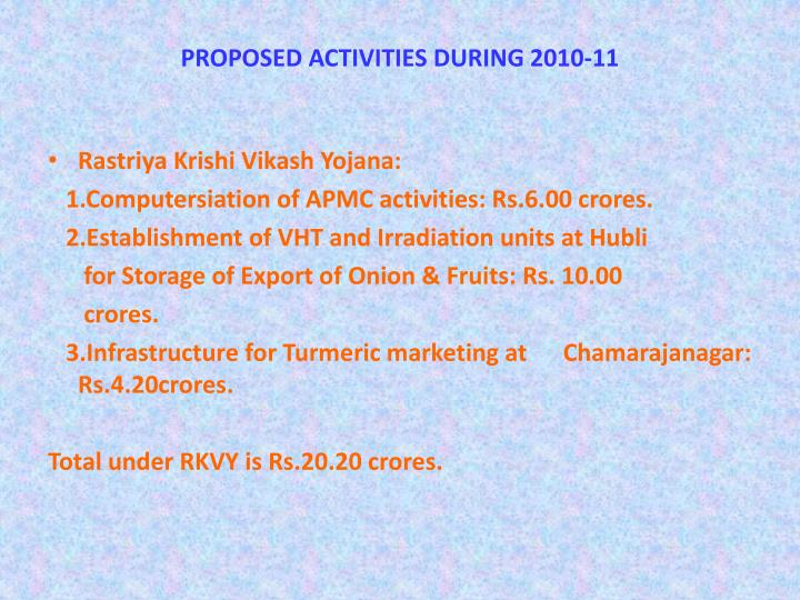 PROPOSED ACTIVITIES DURING 2010-11
