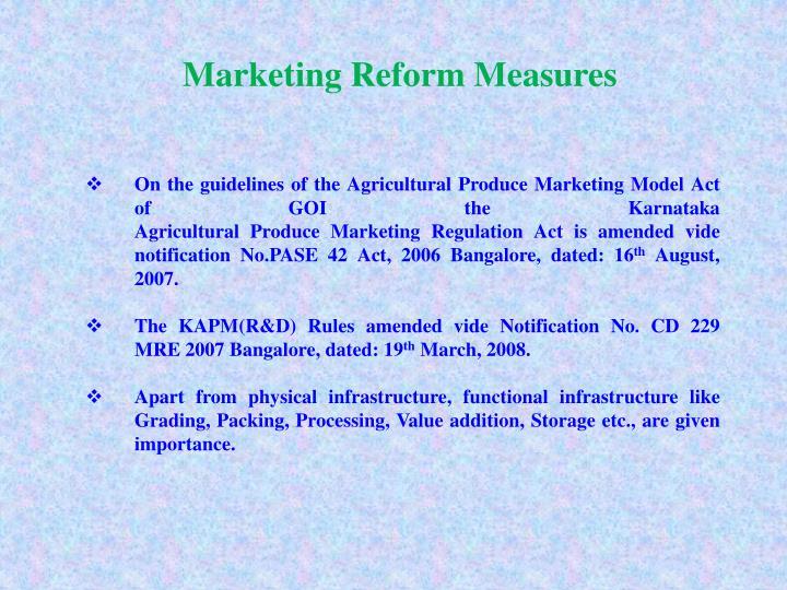 Marketing Reform Measures