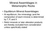 mineral assemblages in metamorphic rocks