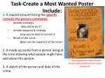 task create a most wanted poster include