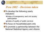 peru 2002 decisions taken