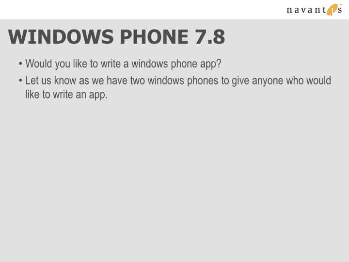 Windows phone 7 8
