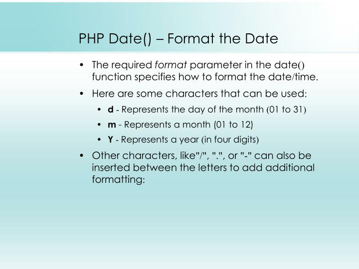 PHP Date() – Format the Date