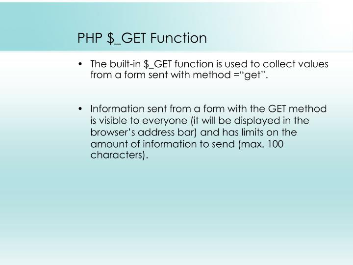 PHP $_GET Function