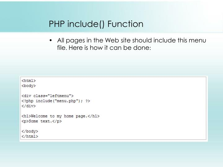 PHP include() Function