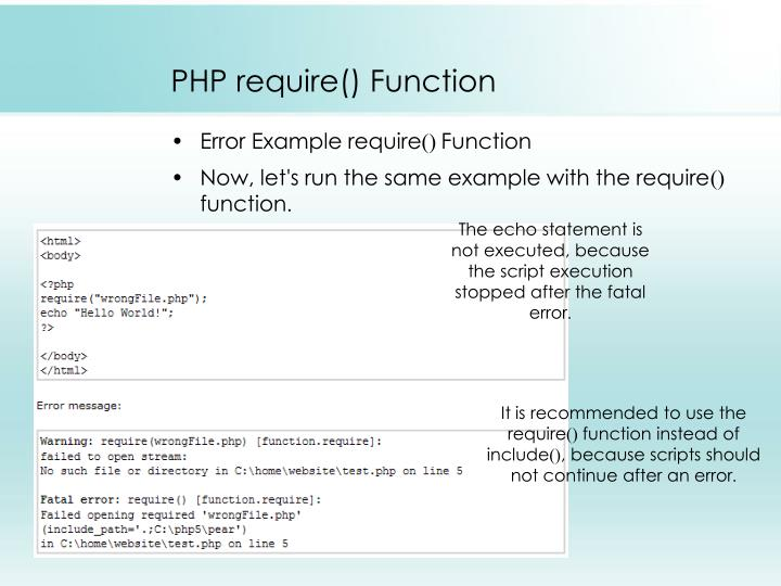 PHP require() Function